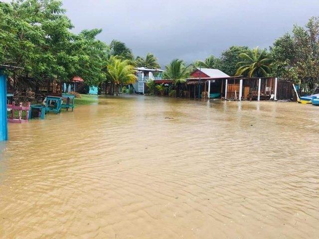 Lluvias provocan desborde de río en Omoa, unas 14 casas se encuentran inundadas