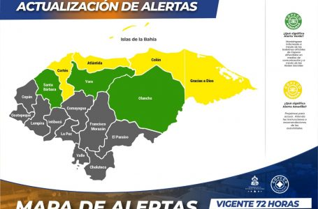 Copeco decretó alerta amarilla y verde durante las próximas 72 horas