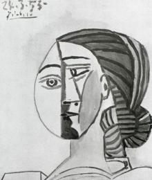 «Tête de femme» (1953), dibujo de una colección privada