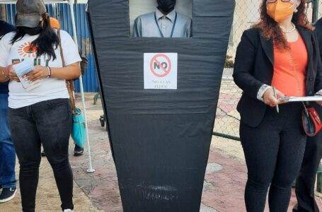 Diputado del Pinu protesta en bajos del CN en contra de las ZEDE