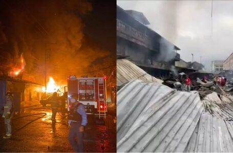 Voraz incendio consumió varios puestos comerciales en barrio Concepción de SPS