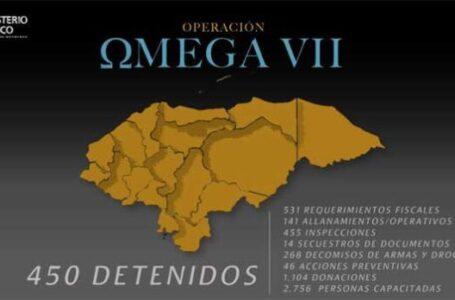Operación Omega VII dejó 450 personas detenidas y más de 500 requerimientos fiscales
