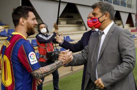 «Me gustaría anunciar que Messi se queda, pero aún no puedo»: Laporta