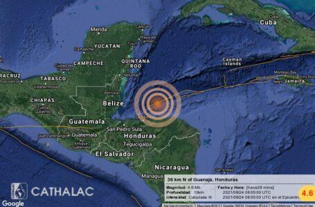 Registran sismo de magnitud 4.6 en las islas de Guanaja y Roatán