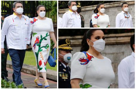 Elegante y conmemorativo vestido luce primera dama en Bicentenario de Honduras